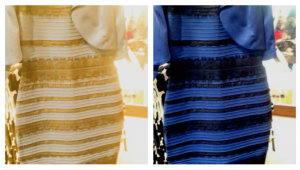 White/gold vs. Black/blue: Some people perceive the image on the left, others the one on the right. Others switch back and forth.