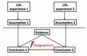 Conclusions can be anything that the brain makes available to our conscious experience - percepts, decisions, interpretation. Objects above dashed line are often not consciously considered when evaluating the conclusions. Some of them might not be consciously accessible. Note that this is not the only possible difference between individuals. Arguably, it might be that the brains are also different from the very beginning. That is probably true, but we know next to nothing about that. Note that differing assumptions are sufficient to bring about differences in conclusions in this framework. That doesn't mean other factors couldn't matter as well. Also note that we consider two individuals here. Once more than two are involved, the situation would be more complicated yet.